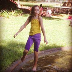 Then she ran into the fountain.